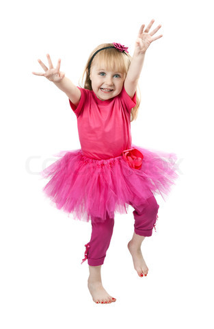 2285395 392363 little girl in a pink dress dancing in studio isolated on a white background1